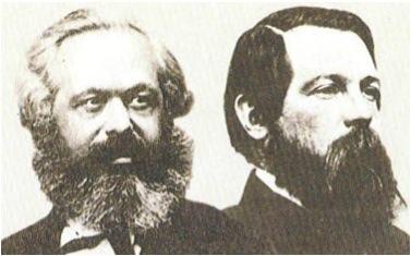 Retrato de Marx e Engels, fundados do socialismo científico.