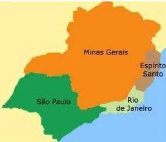 Mapa da Região Sudeste