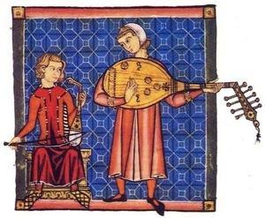 Trovadores tocando instrumentos musicais